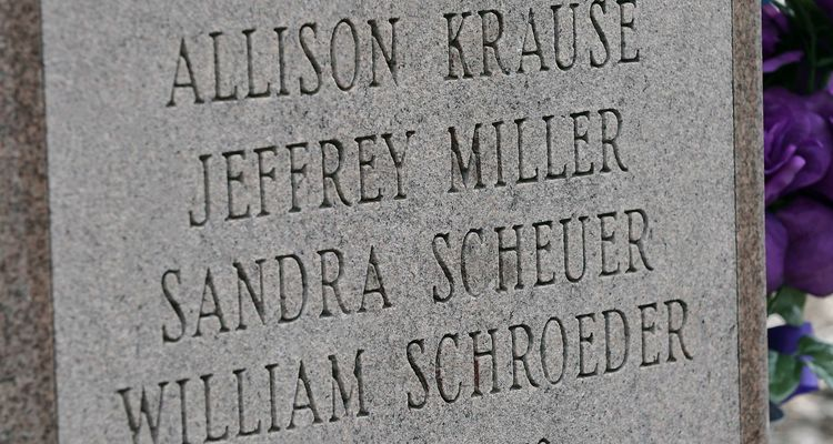 The names of those killed on May 4, 1970, are displayed on the B'nai B'rith Hillel Marker in the parking lot of Prentice Hall on the campus of Kent State University.