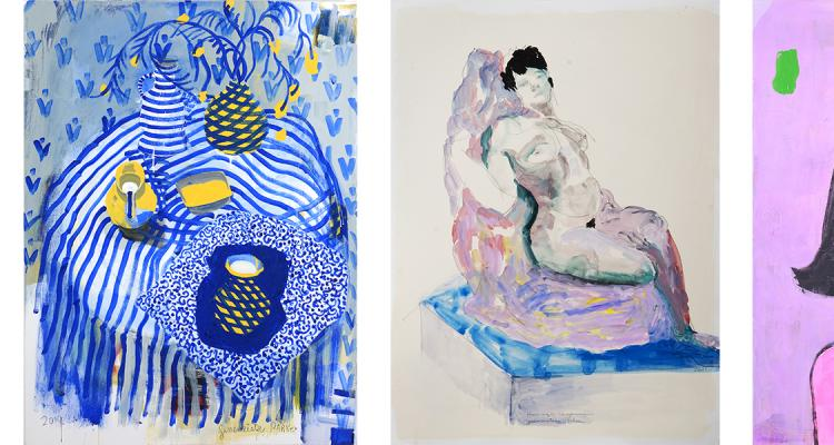 Three paintings by Patricia Zinsmeister Parker - One still life in blue, one nude woman reclining and one self portrait with multiple faces