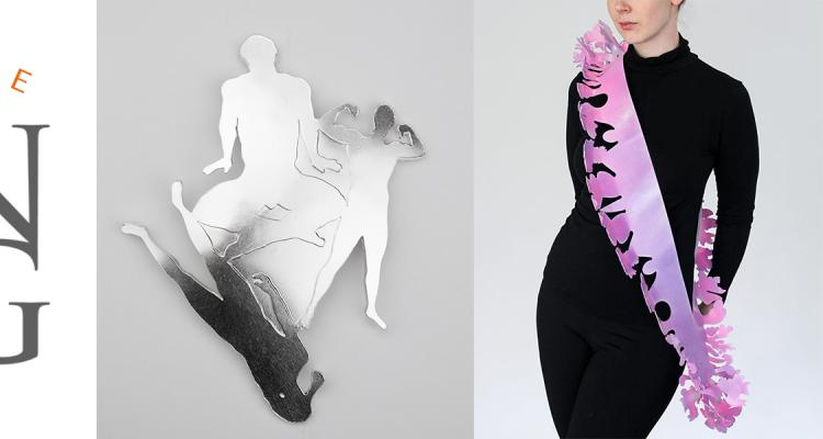 The Society of North American Goldsmiths (SNAG) logo and two images of artwork - a silver brooch with three male silhouettes by Andrew Kuebeck and a pink and purple flower sash on a model by Rachel Smith.