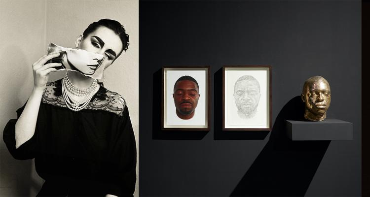 Virtual Fall 2020 artist and scholar talks. Three photos: image of a woman, sculpture and prints of a man's head, a bracelet made out of guns