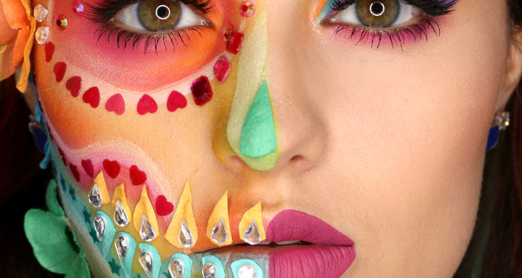 Carrie Esser with elaborate colorful makeup