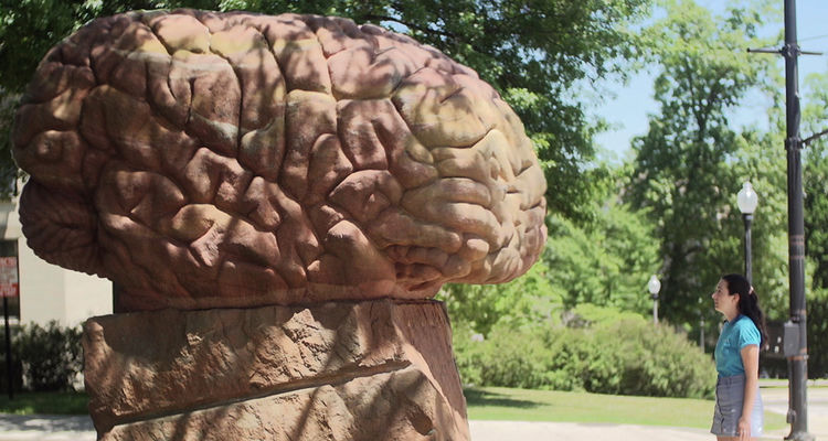 Through an email-based service launched by University Communications and Marketing, students can ask The Brain, the sculpture located near Merrill Hall on the Kent Campus.