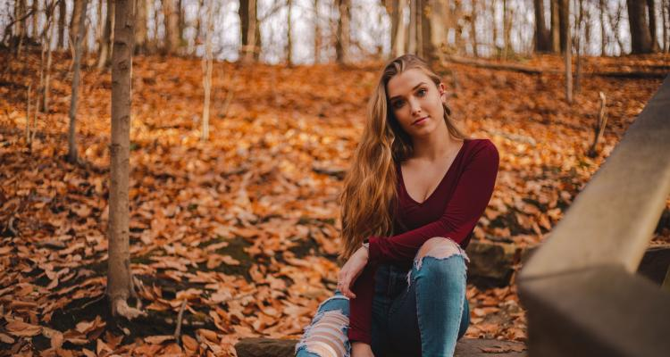 Gabriella Humes sitting in a park in Canton, Ohio.