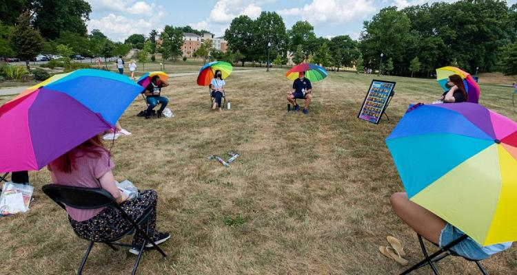 Kent State University's Lesbian, Gay, Bisexual, Transgender and Queer Plus (LGBTQ+) Center holds a safe physically distant small group kickoff event at the start of the 2020 fall semester.