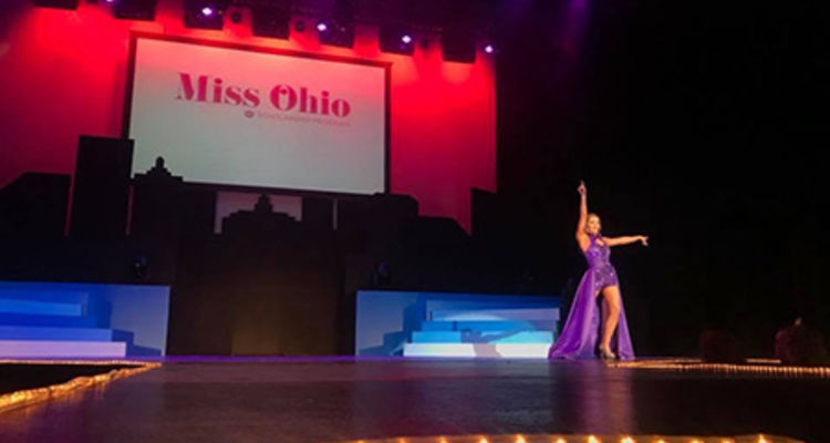 Communication Studies major Matti-Lynn Chrisman is shown during the talent portion of the Miss Ohio 2018 competition. Photo credit: Lou Whitmire, Mansfield News Journal