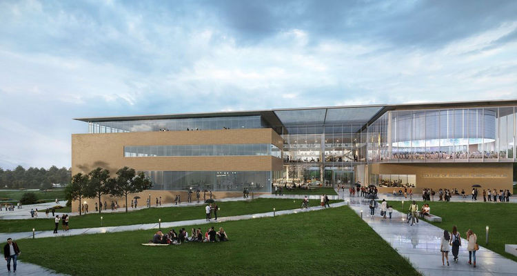 Akron's Signet Real Estate Group will lead the design phase of the marquee building of the first phase of the Kent Gateway Plan – the proposed new home for the College of Business Administration. (Rendering courtesy of Signet)