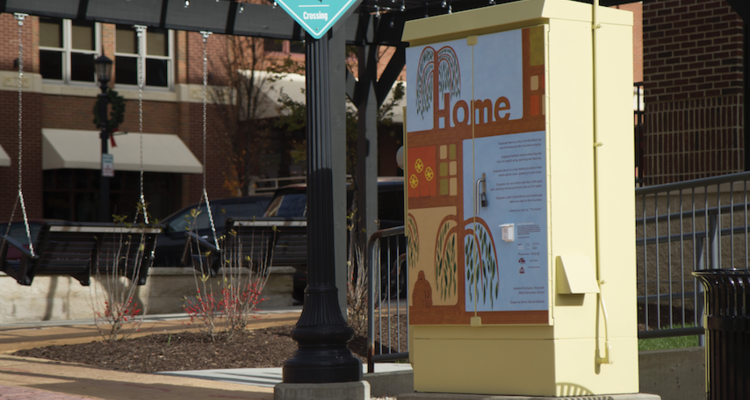 Traveling Stanzas illustrations on utility boxes