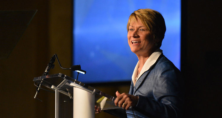 Kent State University President Beverly Warren delivers her State of the University address to members of the university community.
