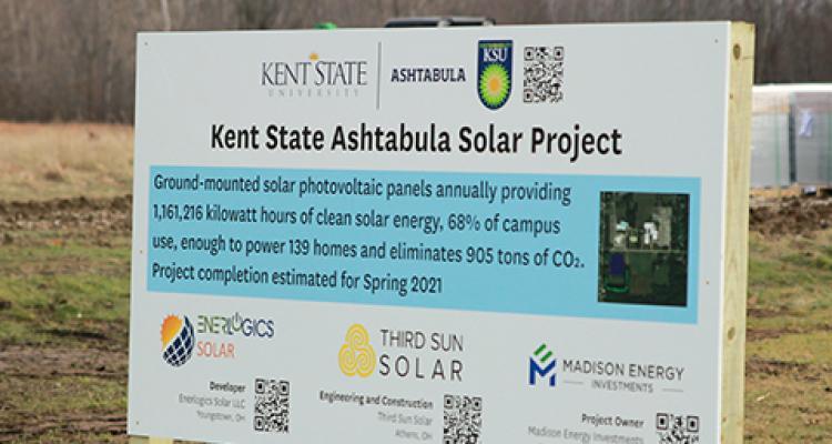 Signage at the Kent State Ashtabula Solar Project Site