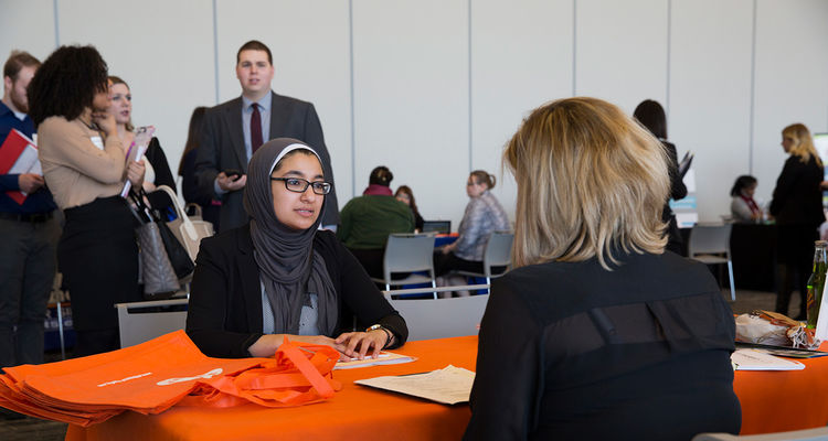 A student attends the career expo in 2016.