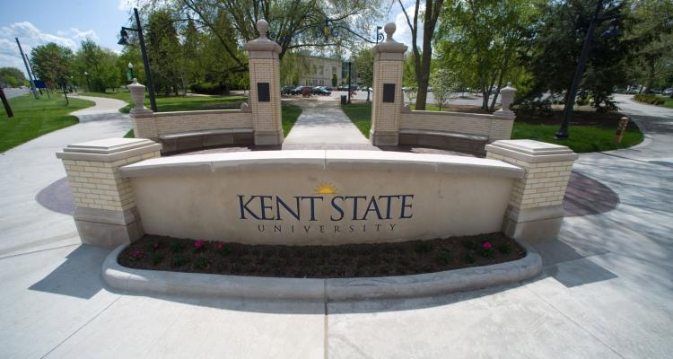 Kent State University sign on front campus.
