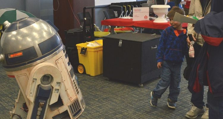 R2D2 visits Kent State Mini-Maker Faire on April 12, 2019