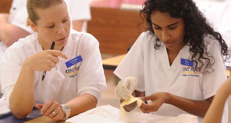 Nursing classmates work together