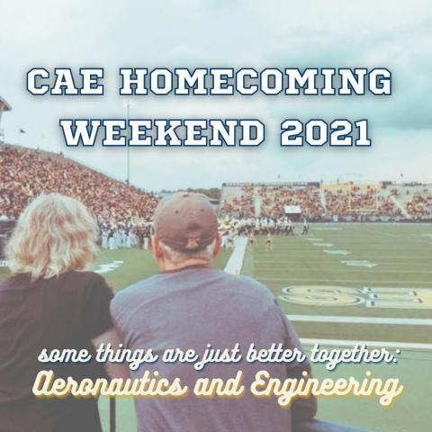 CAE Homecoming Weekend 2021 Square Image of two people watching a football game