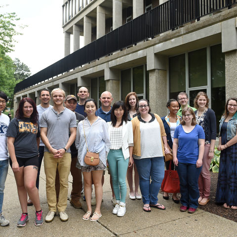 image of graduate students outside of Taylor Hall