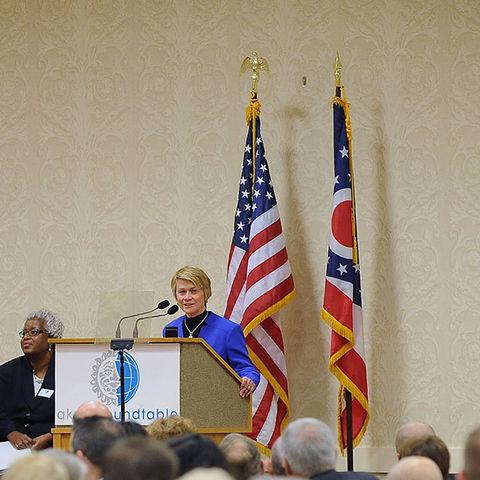 President Beverly Warren speaks at the Akron Roundtable Oct. 16, 2014