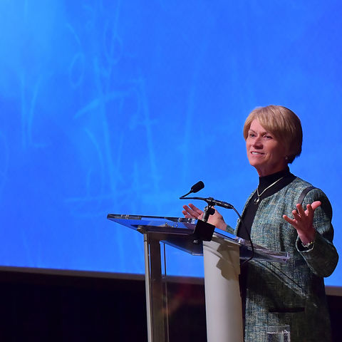 Kent State President Beverly Warren talks about the Kent State Promise during the 2016 State of the University address held in the Kent Student Center Kiva.
