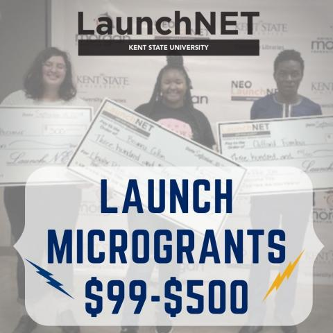 LaunchNET Spring 2021 Launch microgrants $99-$500 -square photo of award winning students with big checks-
