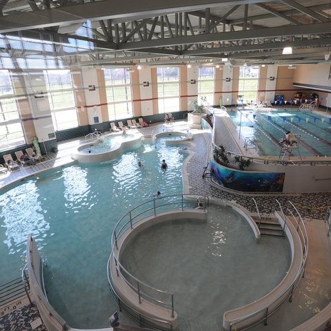 Demonstrating an accessible campus community; wheel-in pool and person lift at Recreational Services