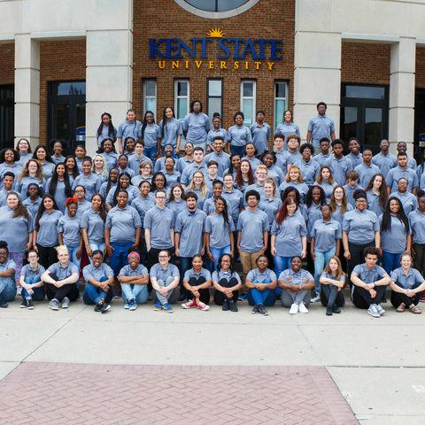 Upward Bound students pose for group photo