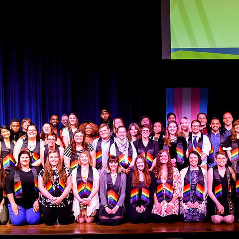 LGBTQ students gather for group photo.