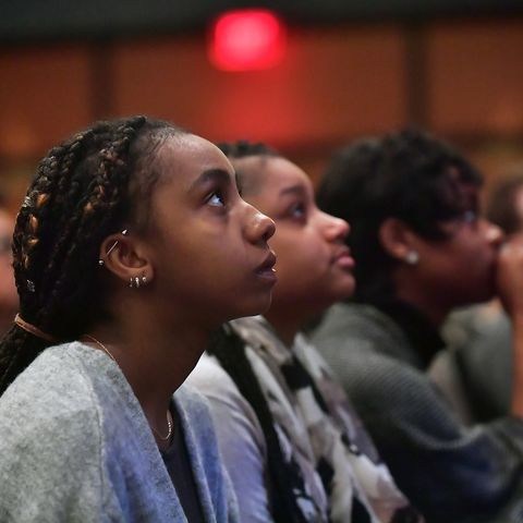 Kent State students listen to the keynote speaker during the university's annual Martin Luther King Jr. Celebration in the Kent Student Center Ballroom.