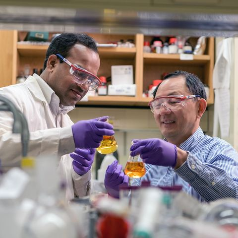 Senior Chemist Hari Krishna Bisoyi (left) and Senior Research Fellow Quan Li (right) conduct an experiment in Kent State University's Advanced Materials and Liquid Crystal Institute, located on the campus in Kent, Ohio.