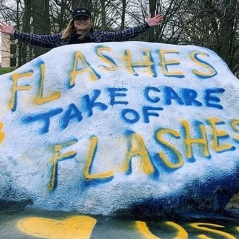 Flashes take care of Flashes painted rock