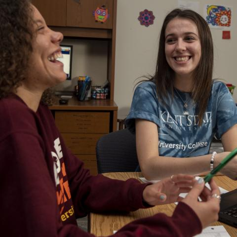 A Kent State University exploratory student and her mentor meet in the learning community dedicated to exploratory students in February 2020.