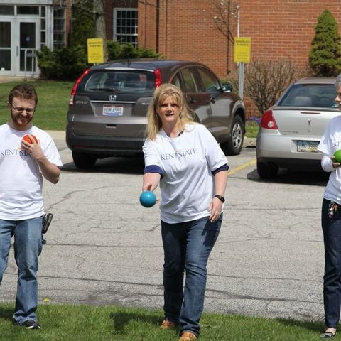 Kent State University at Ashtabula employees stay active during a lunch break on the campus.