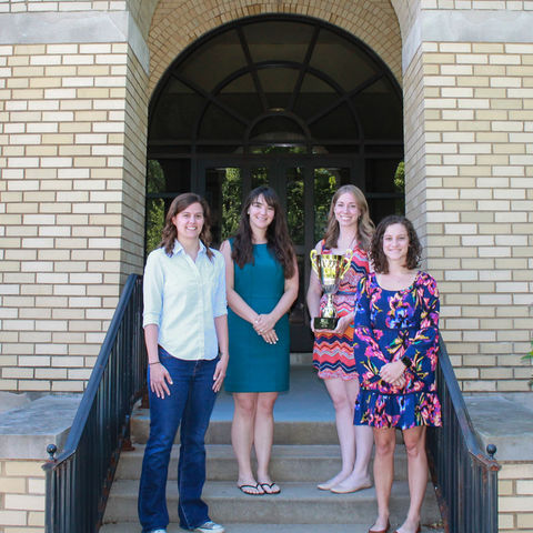 Kent State graduate students (left to right) Karly Cochran, Haylee DeLuca, Liz Baker and Logan Stigall won the prestigious Sloboda and Bukoski Cup at the Society for Prevention Research's annual conference. (Photo credit: Ida Cellitti)