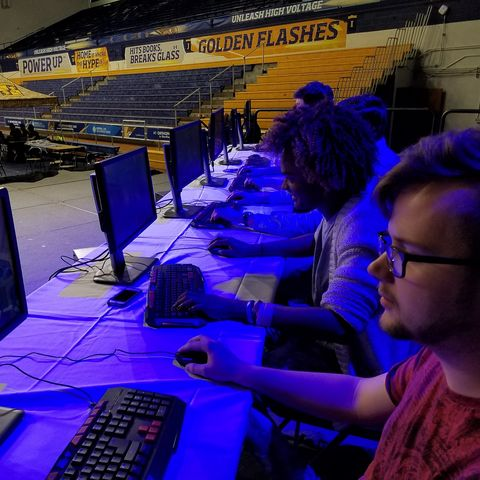 Members of the Kent State University Esports team participate in a competition held in the university's Memorial Athletic and Convocation (MAC) Center.