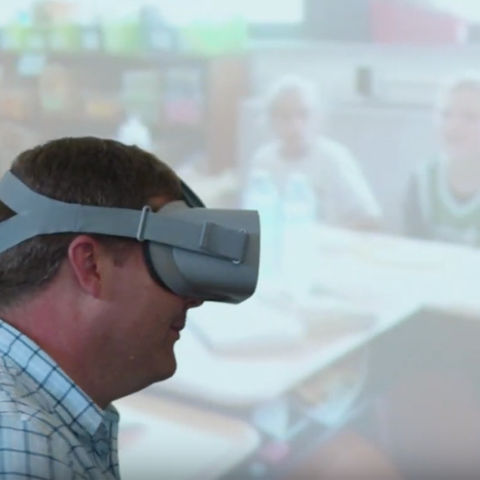 Karl Kosko, Ph.D., and his colleagues use virtual reality goggles and 360 videos to help train future teachers.