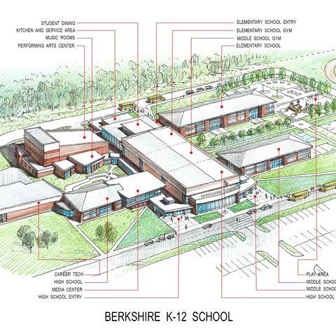 Shown is a rendering of the new Berkshire school. (Credit: TDA/Berkshire Local School District)