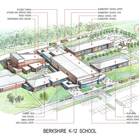 Shown is a rendering of the new Berkshire school. (Credit: TDA/Berkshire Local School District)