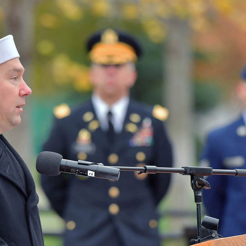 Retired Petty Officer 1st Class Mark Gainer, a Kent State University student who currently serves as president of the Kent State Veterans Club, addresses those attending the university's 2016 Veterans Day observance.
