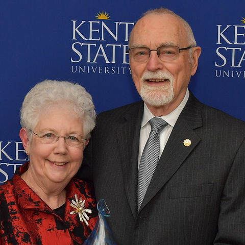 Kent State University President Emerita Carol Cartwright, Ph.D., and her husband, G. Phillip Cartwright, Ph.D., accept an award at the Founders Gala held in November 2017 in the Kent Student Center Ballroom.
