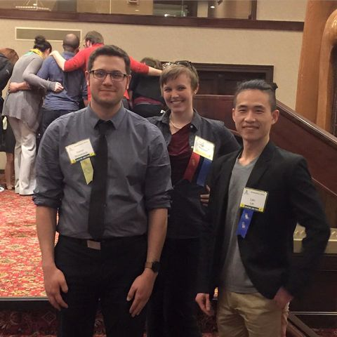 "Yu Leo Lei (far right) was awarded first place at SETC for his lighting design of ""Side Show"""