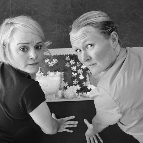 """Jess Tanner (left) and Amy Fritsche (right) perform in """"Best Intentions,"""" directed by Courtney Brown, in the UK (Photo by Shark Eat Muffin Theatre Company)"""