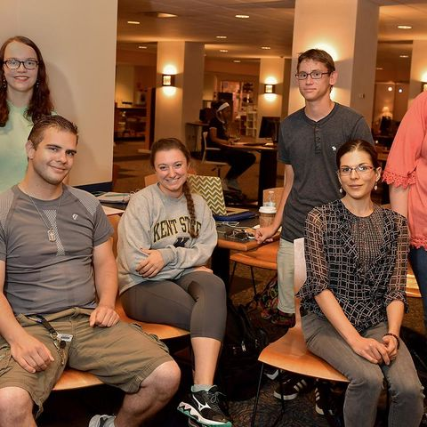 Kent State University students who are members of Autism Connections Kent, a new student organization on campus, pose for a photo in the Kent Student Center.