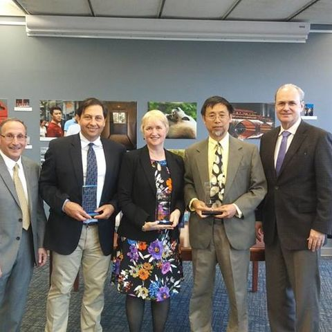 Research VP Paul DiCorleto stands with the 2017 Outstanding Research Award Winners and Provost Todd Diacon