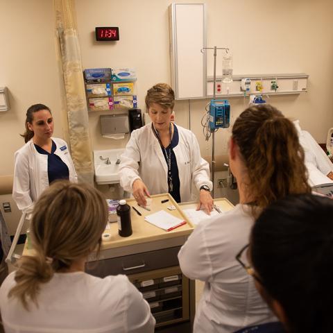 Ashtabula campus nursing students listen to instructor