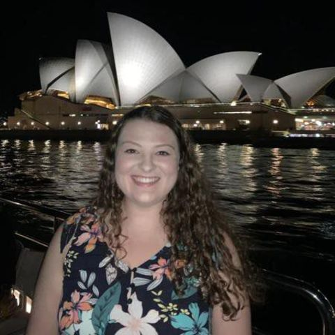 Ashtabula graduate Katie Paskey in front of the Sydney Opera House
