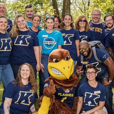 Kent State Stark staff with Flash at Smart Start Orientation
