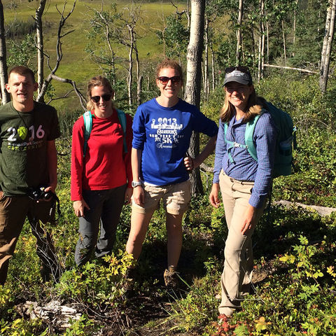 The team in Alaska is (left to right) Jonathan Mills, undergraduate geology major; Kiersten Duroe, geology M.S. candidate; Elizabeth Herndon, Ph.D., assistant professor of geology; and Lauren Kinsman-Costello, Ph.D., assistant professor of biology.