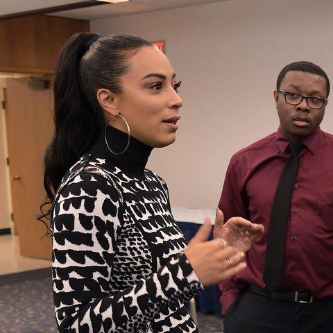 Angela Rye meets with Kent State students prior to her keynote speech at the university's 2019 Martin Luther King Jr. Celebration.