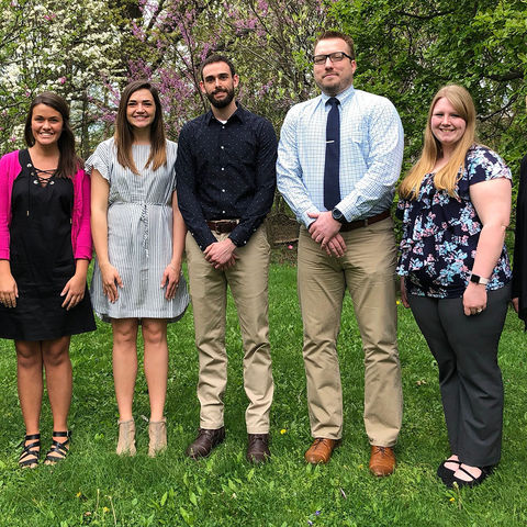 College of Nursing Dean Barbara Broome and Tracey Motter, associate dean for undergraduate programs stand with Kent nursing 2018 ASCEND students, Hannah Miller, Paige Barnum, Brian Cochran, Ryan Dowling, and Samantha Kenney.