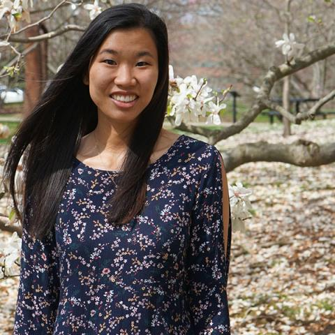 Allie Rodriguez, a senior nursing student, volunteered at vaccine clinics at Kent State University.