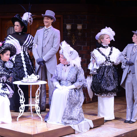 "Members of the ""My Fair Lady"" cast in S.Q. Campbell's celebrated Ascot costumes"