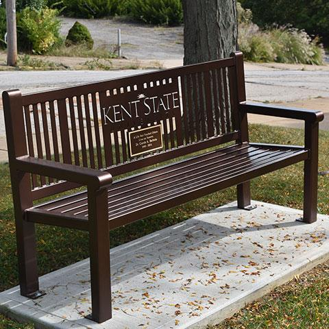 Bench dedicated to the late Dr. Carole Barbato at Kent State University at East Liverpool